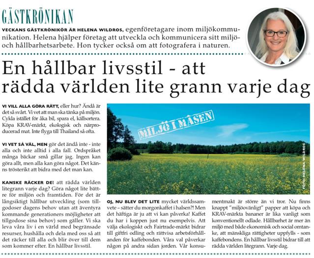 Gästkrönika i Mariefreds Tidning 23 juni 2016.