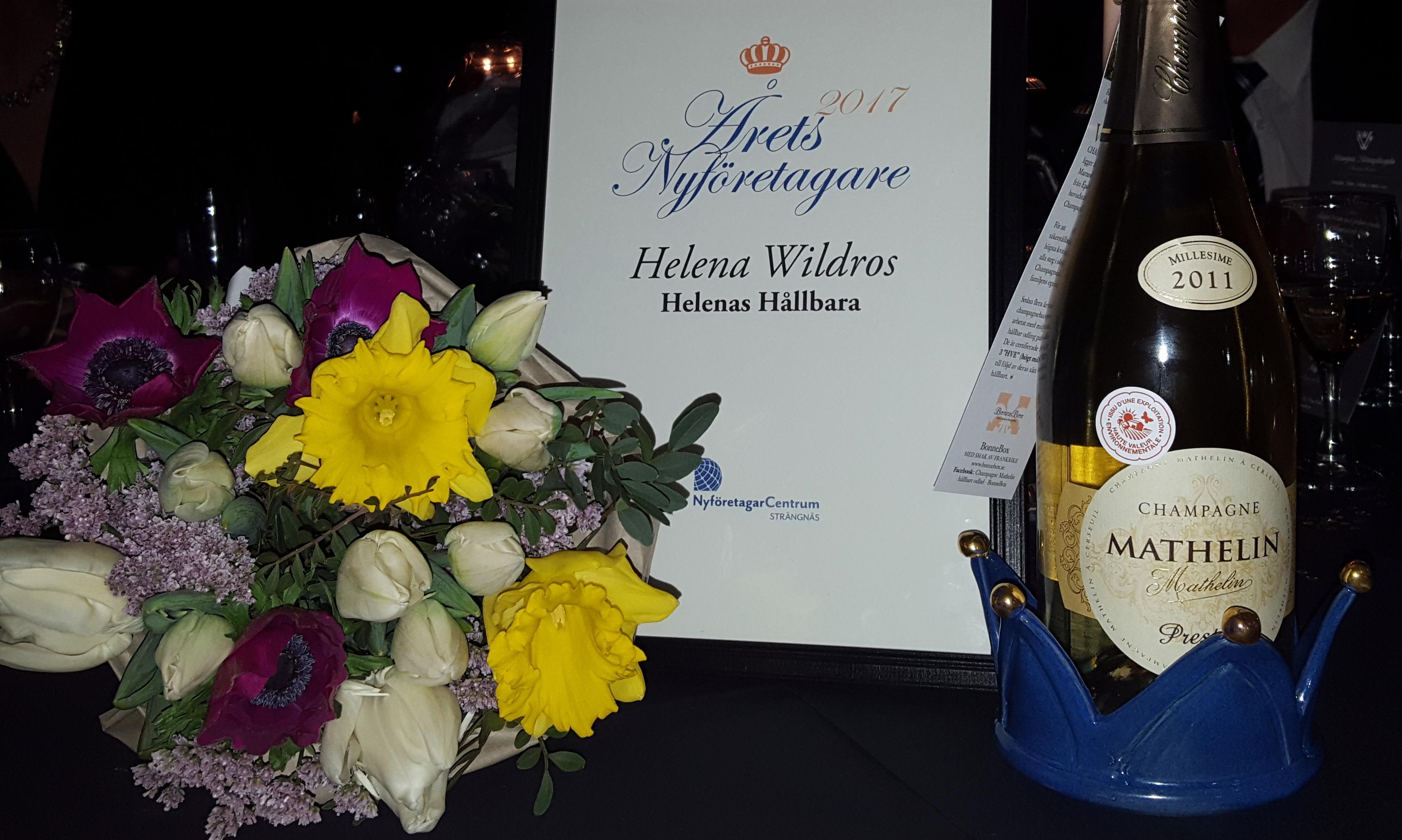 Hurra – jag blev Årets Nyföretagare i Strängnäs!